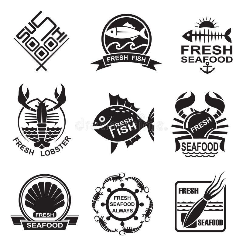 Owoce morza ikony set royalty ilustracja