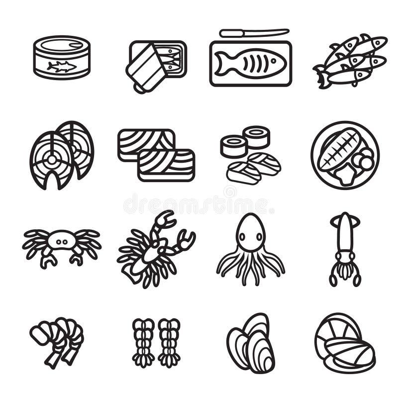 Owoce morza ikony set Wektor EPS 10 royalty ilustracja