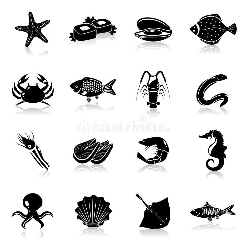 Owoce morza ikony ustawiają czerń royalty ilustracja