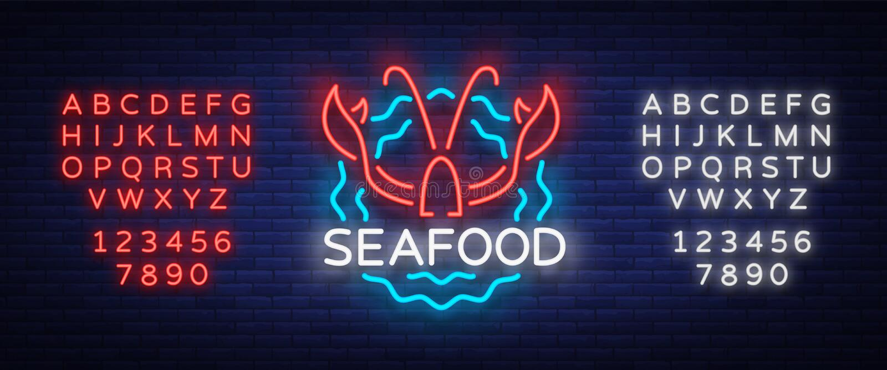 Owoce morza loga ikony wektoru neonowa ilustracja Homara emblemat, neonowa reklama, noc znak dla restauraci, kawiarnia, bar ilustracji