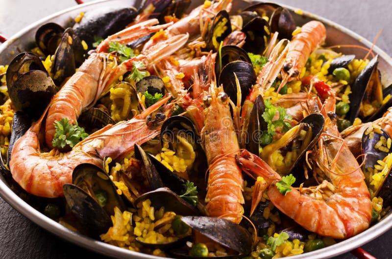 Owoce morza Paella zdjęcie royalty free