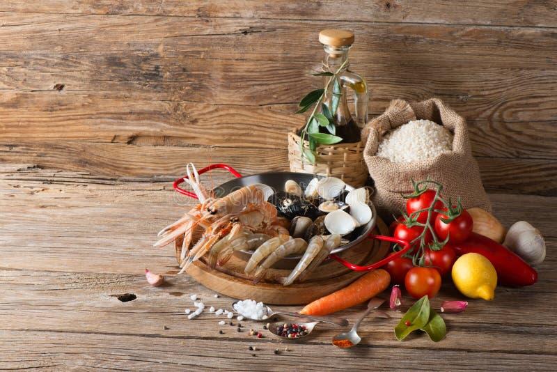 Owoce morza Paella, składniki obraz stock