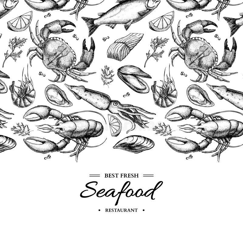 Owoce morza ręka rysująca wektor obramiająca ilustracja Krab, homar, garnela, ostryga, mussel, kawior i kałamarnica, royalty ilustracja