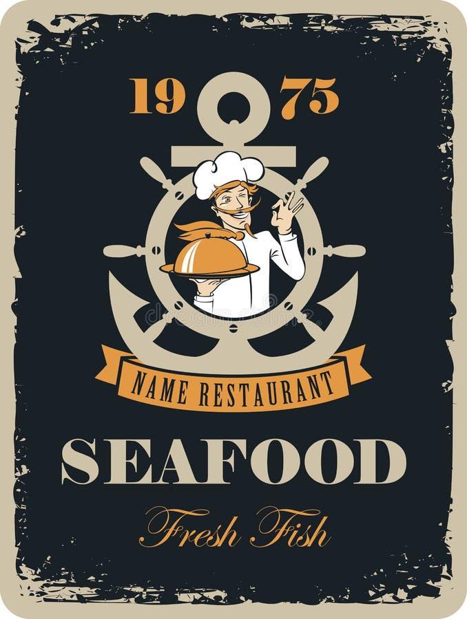 Owoce morza restauracja z morskim kucharzem ilustracji