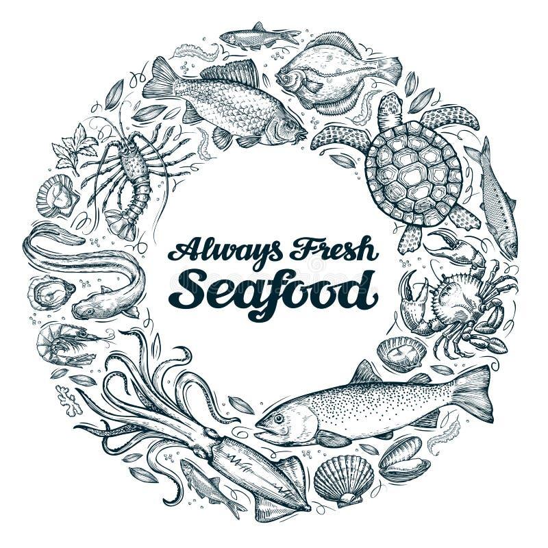 Owoce morza Restauracyjny menu projekta szablon kreśli jedzenie ilustracja wektor