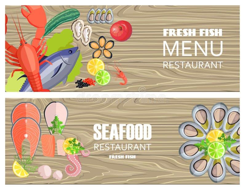Owoce morza Restauracyjny menu z Wyśmienicie Fesh rybą ilustracji