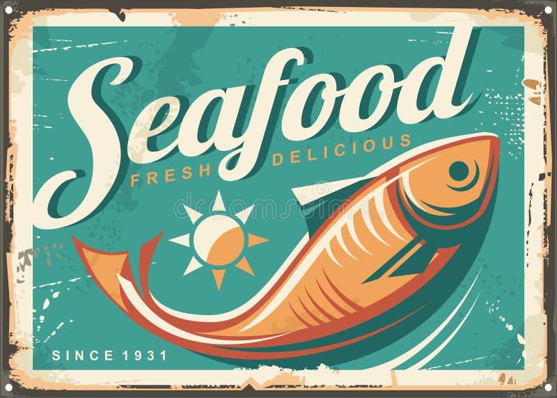 Owoce morza rocznika stylu restauracyjny kierunkowskaz royalty ilustracja