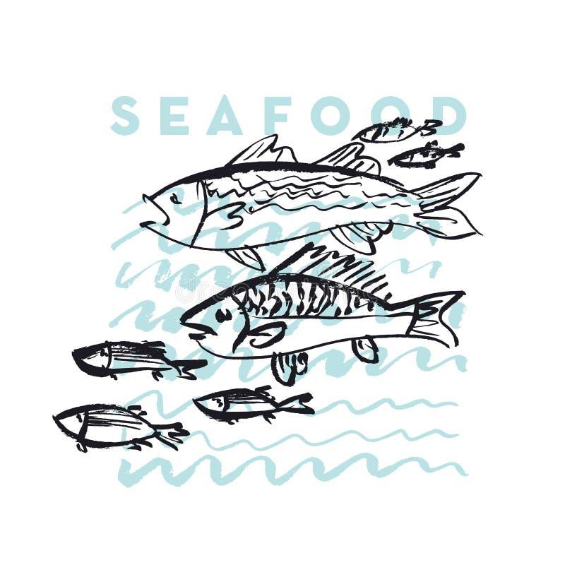 Owoce morza ryba i fala abstrakcjonistyczna ręka rysująca projektujemy element ilustracja wektor