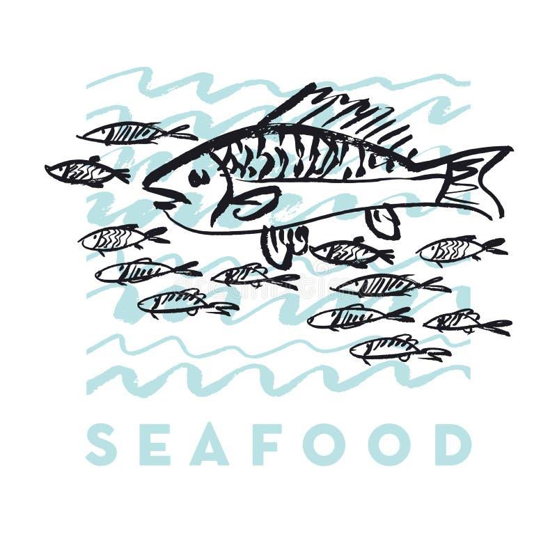 Owoce morza ryba i fala abstrakcjonistyczna ręka rysująca projektujemy elementy ilustracji