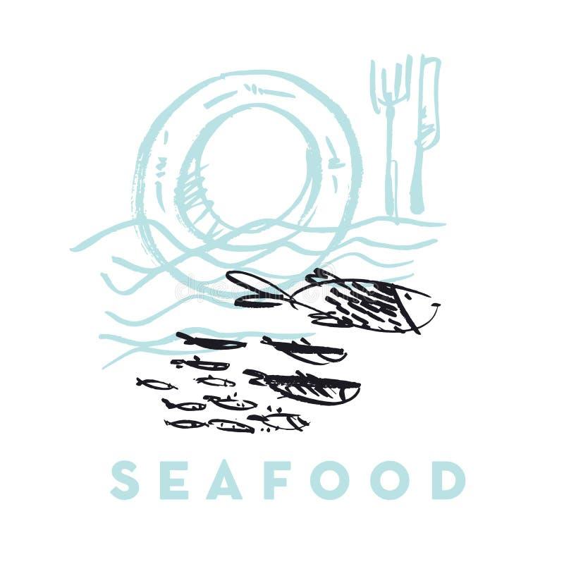 Owoce morza ryba i fala abstrakcjonistyczna ręka rysująca projektujemy elementy dla ja royalty ilustracja