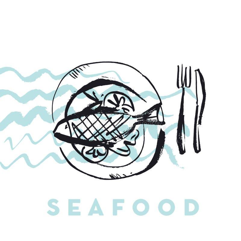 Owoce morza ryba i fala abstrakcjonistyczna ręka rysująca projektujemy elementy dla ja ilustracja wektor