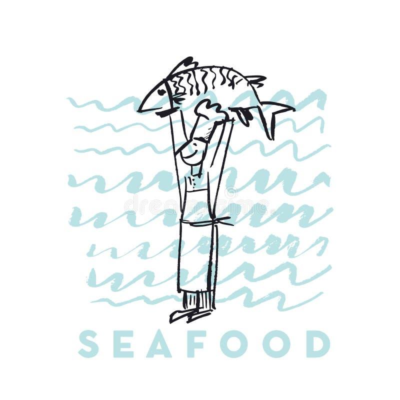 Owoce morza ryba i kucharz abstrakcjonistyczna ręka rysująca projektujemy elementy dla menu, plakat, zaproszenie ilustracja wektor