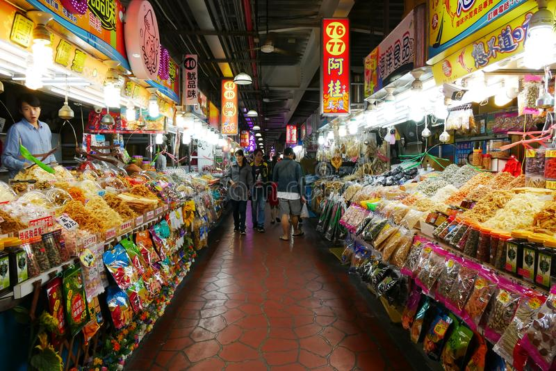 Owoce morza rynek przy Cijin wyspą w Kaohsiung mieście, zdjęcia royalty free