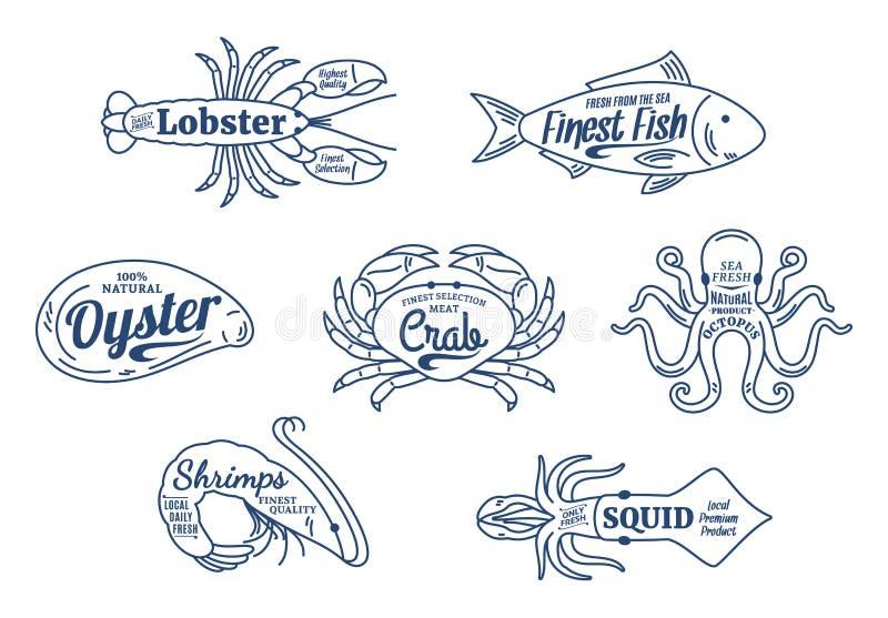 owoce morza sklepowy logo owoce morza cienkie kreskowe