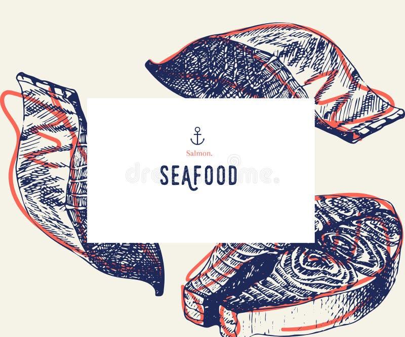 Owoce morza sztandaru set Ręka rysujący łosoś polędwicowy Wektorowy restauracyjny menu Morski karmowy sztandar, ulotka projekt gr royalty ilustracja