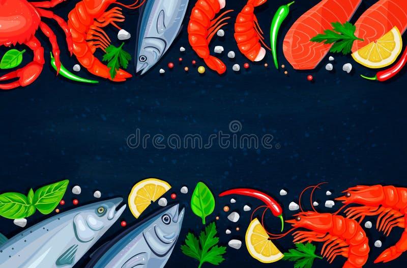 owoce morza wektor Zdrowy karmowy kulinarny pojęcie royalty ilustracja