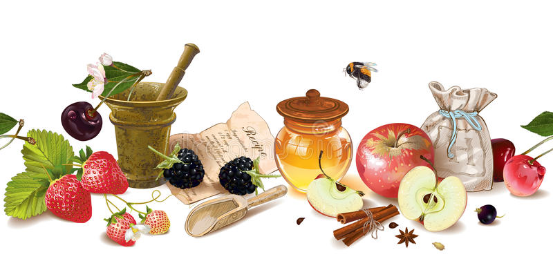 Owocowa i jagodowa kosmetyk granica ilustracji