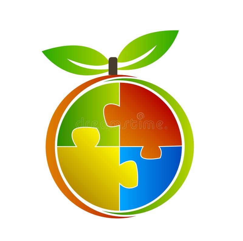 Owocowa logo ilustracja z łamigłówką ilustracja wektor