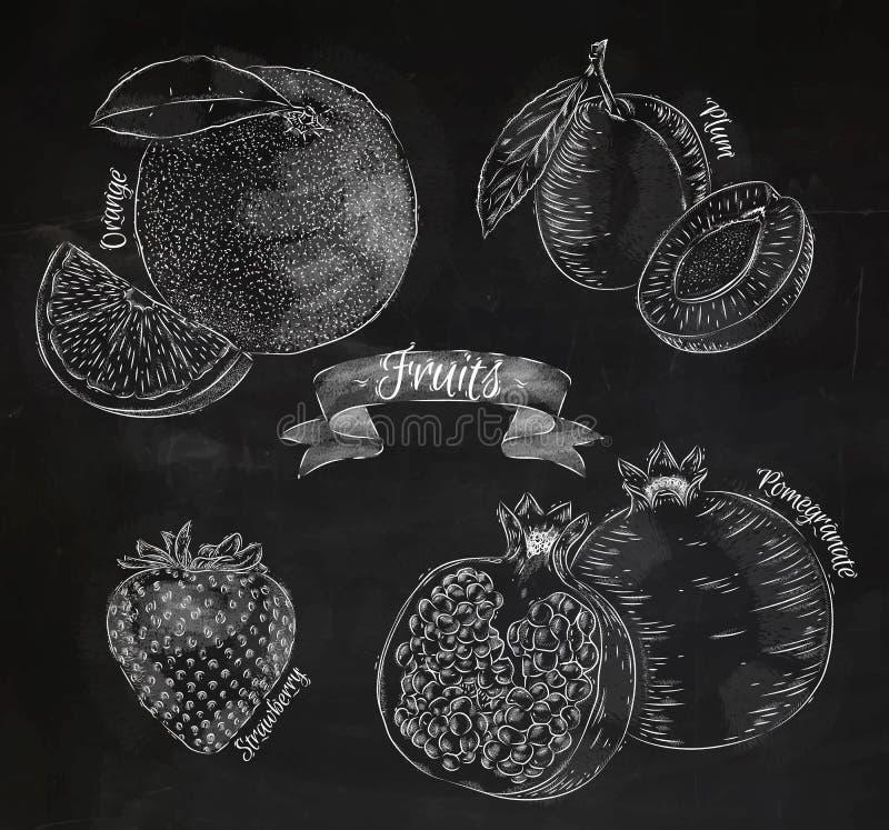 Owocowa pomarańcze, śliwka, truskawka, granatowiec kreda royalty ilustracja