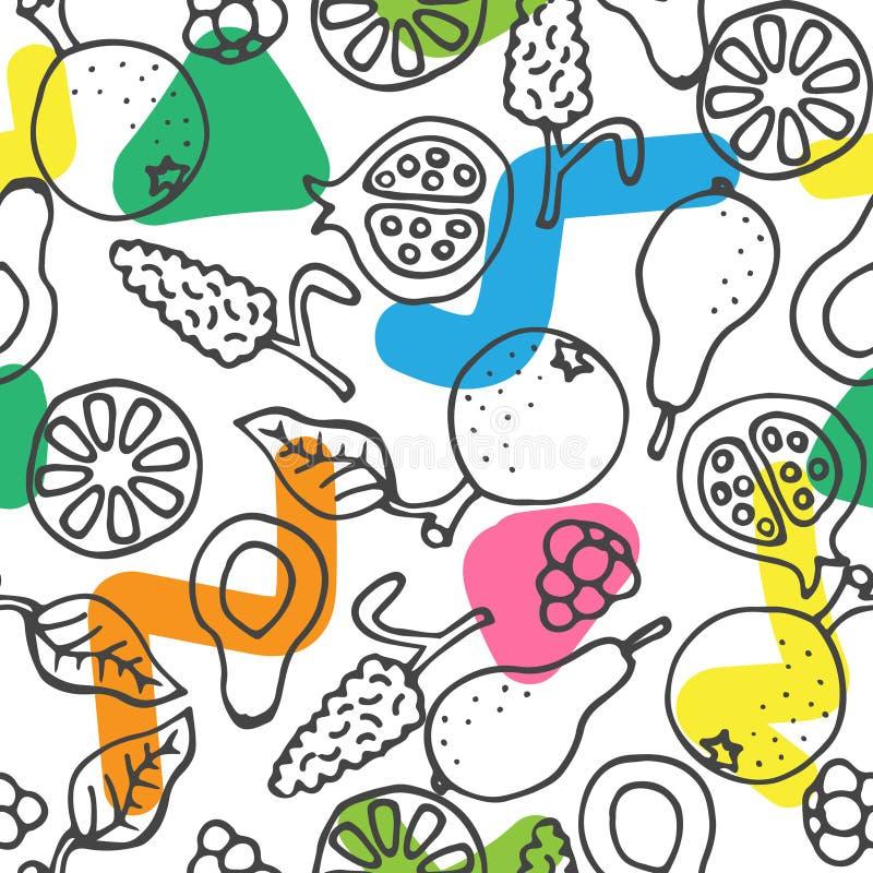Owocowa ręka rysujący doodle wektoru bezszwowy wzór ilustracji