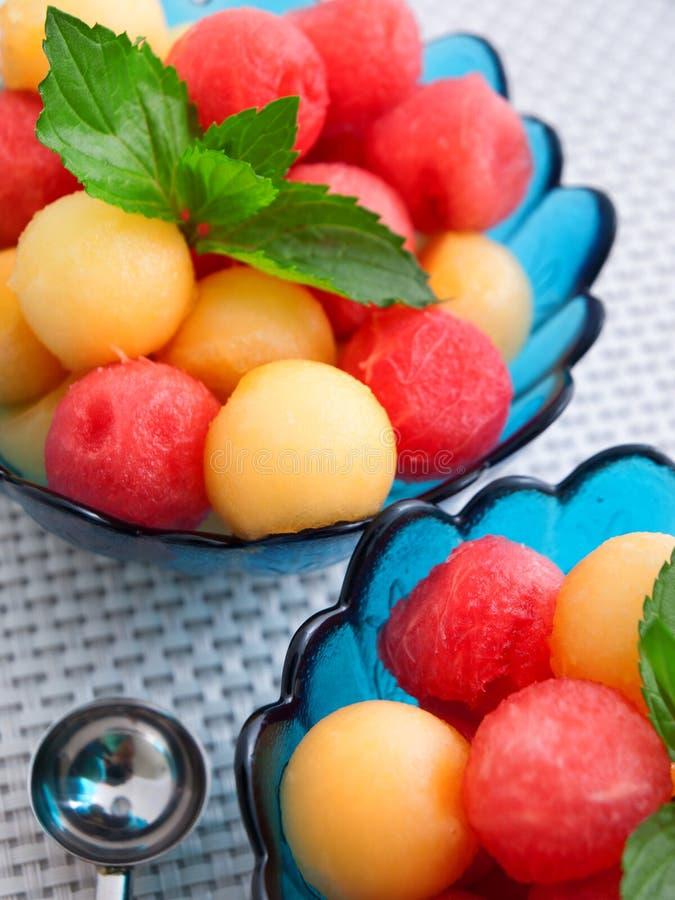 Owocowa sałatka od arbuza i melonu zdjęcie stock