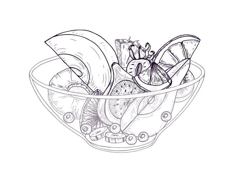 Owocowa sałatka w puchar ręce rysującej z czarnymi konturowymi liniami na białym tle Wyśmienicie posiłek robić świeży siekający ilustracja wektor
