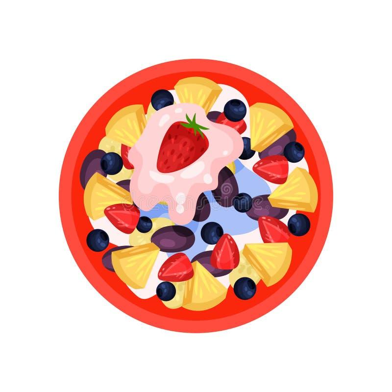 Owocowa sałatka z ananasem, dojrzałą truskawką, śliwką, czarną jagodą i świeżym jogurtem, odgórny widok Smakowity jedzenie Płaska royalty ilustracja