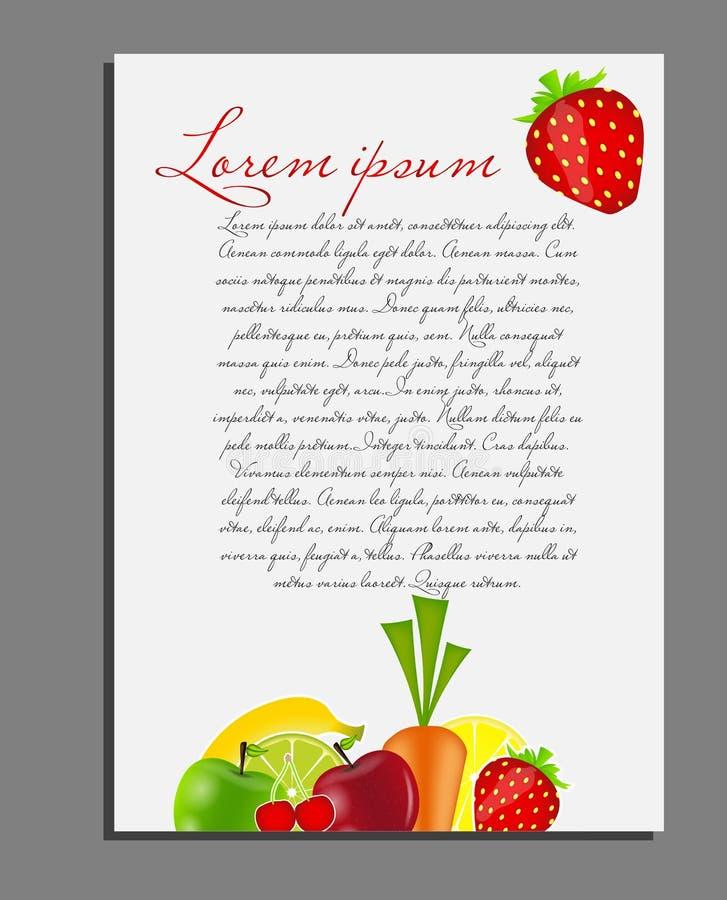 Download Owocowa Tło Pustej Strony Wektoru Ilustracja Ilustracja Wektor - Ilustracja złożonej z sztandar, wita: 28963573