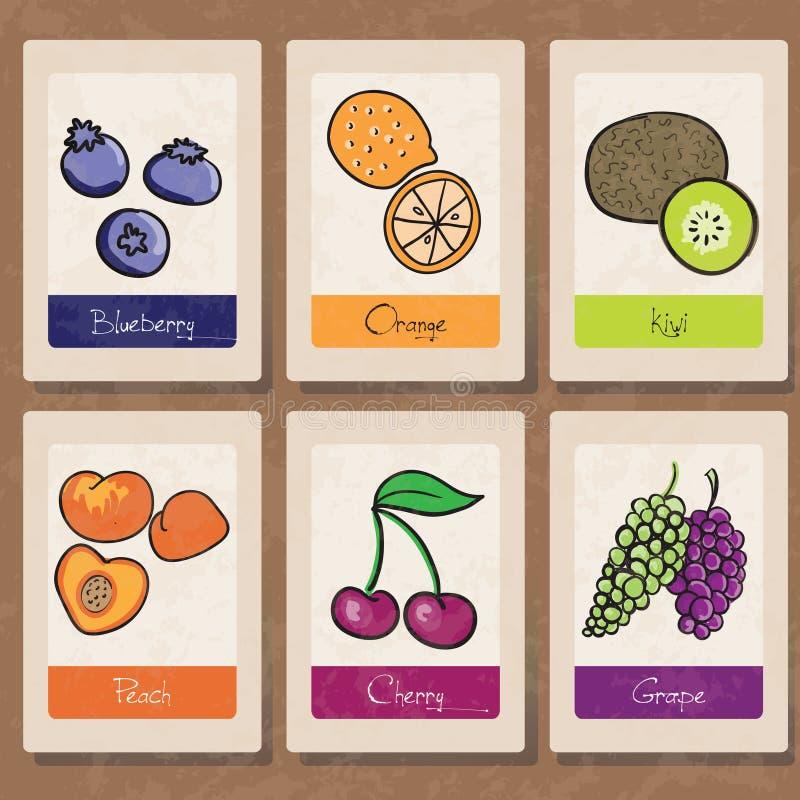 owocowe etykietki ilustracja wektor