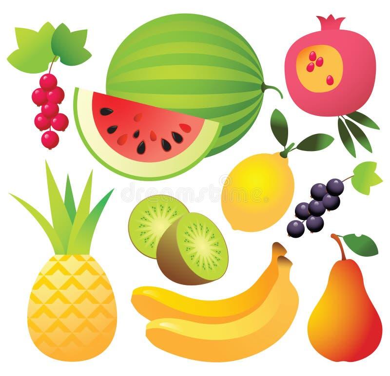 owocowe ikony dziewięć royalty ilustracja