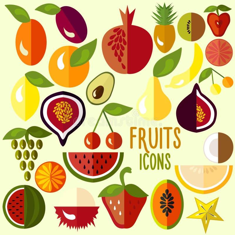 Owocowe ikony: wektorowy ustawiający płaski kolorowy jedzenie ilustracja wektor