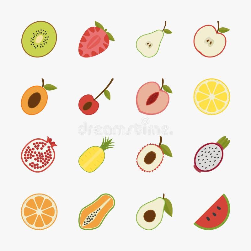 Owocowe ikony z białym tłem royalty ilustracja