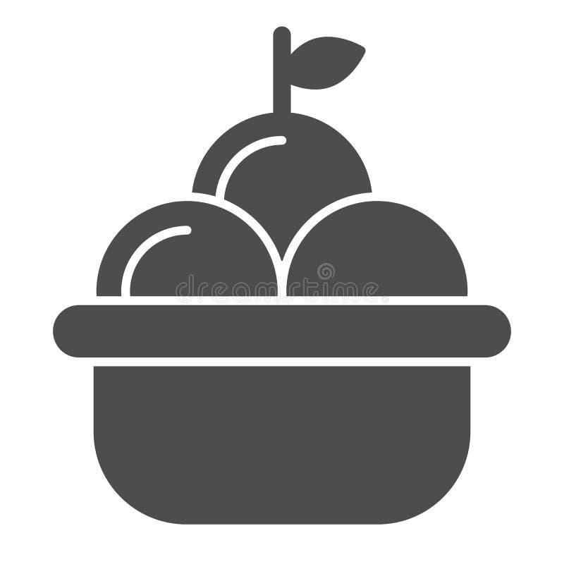 Owocowego kosza bryły ikona Kosz jabłko wektorowa ilustracja odizolowywająca na bielu Żniwo glifu stylu projekt, projektujący ilustracji