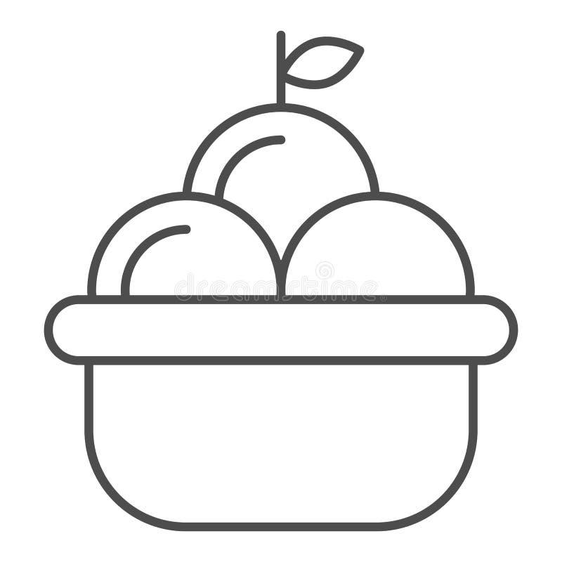 Owocowego kosza cienka kreskowa ikona Kosz jabłko wektorowa ilustracja odizolowywająca na bielu Żniwo konturu stylu projekt royalty ilustracja