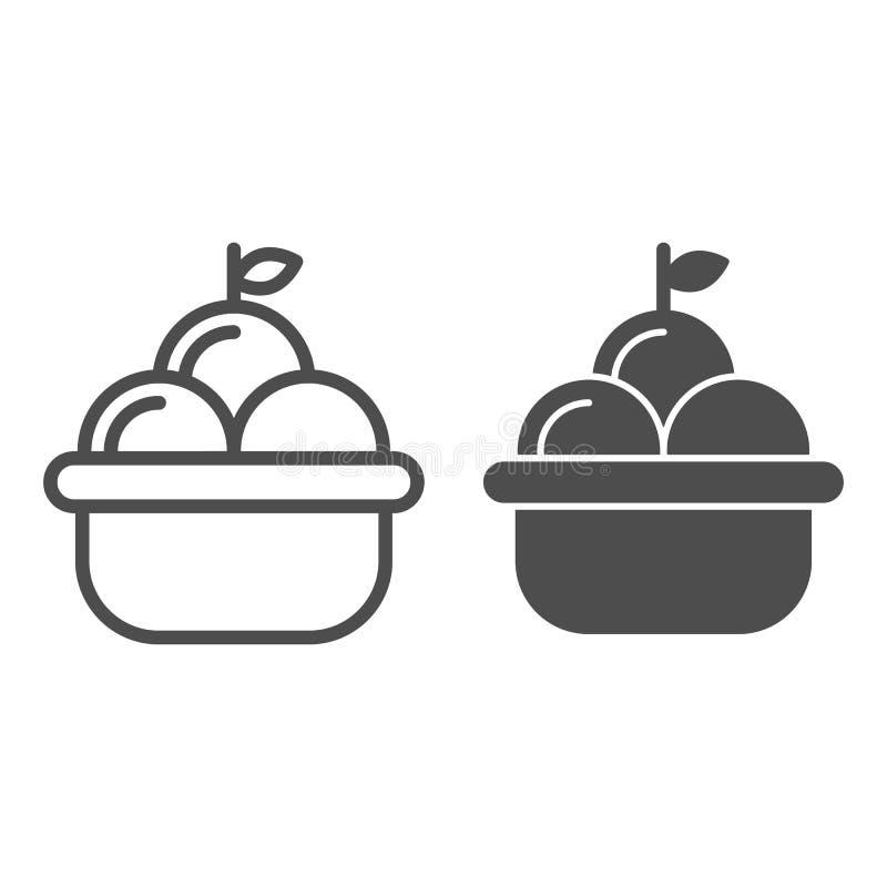 Owocowego kosza linia i glif ikona Kosz jabłko wektorowa ilustracja odizolowywająca na bielu Żniwo konturu stylu projekt ilustracji
