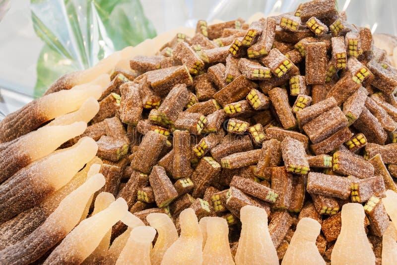 Owocowego naturalnego śmietankowego brązu marmoladowy galaretowy cukierek organicznie, trwałość deser fotografia stock