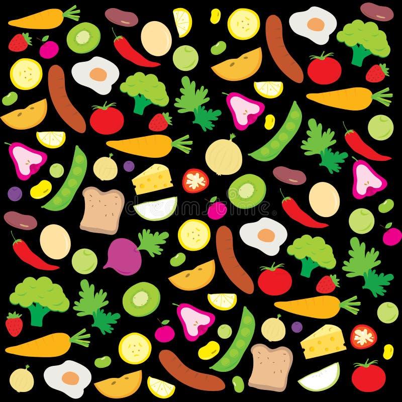 Owocowego warzywa jedzenia Cook składnika Zdrowej odżywki kreskówki śliczny wektor royalty ilustracja