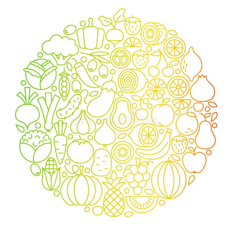 Owocowego warzywa linii ikon okrąg ilustracji