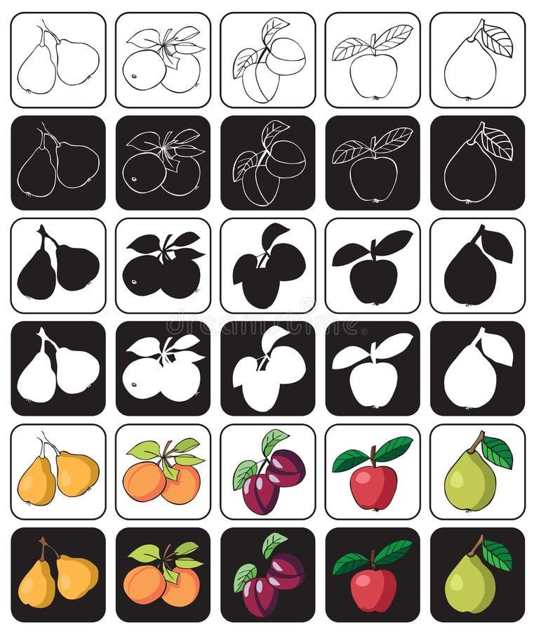 Owocowej ikony bonkrety śliwki Jabłczana morela ilustracja wektor