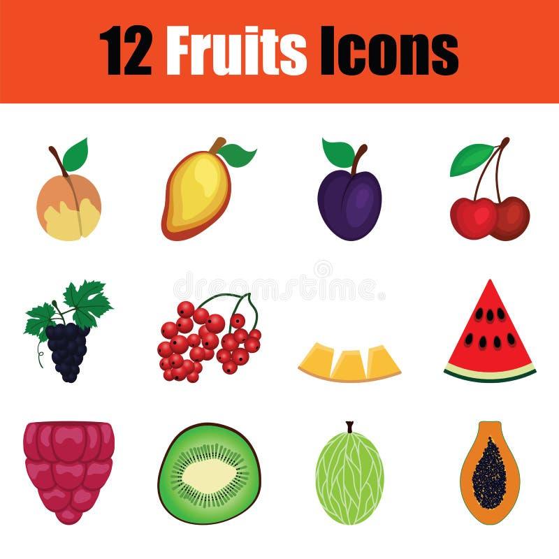 owocowej ikony czerwone ustalone sylwetki ilustracja wektor