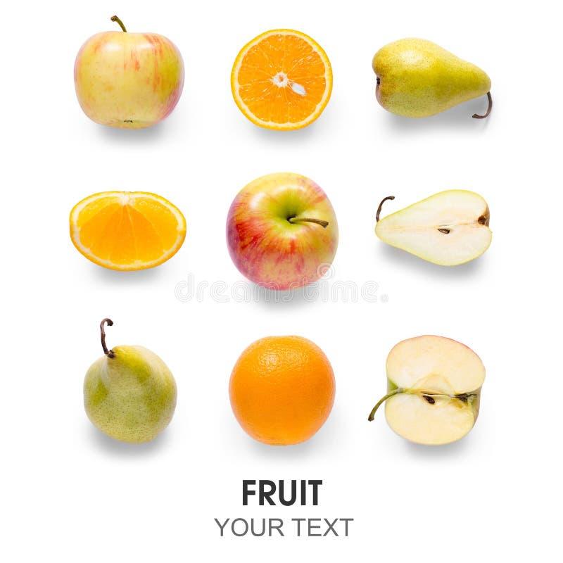 Owocowej jabłczanej pomarańczowej bonkrety bezszwowy wzór zdjęcie stock