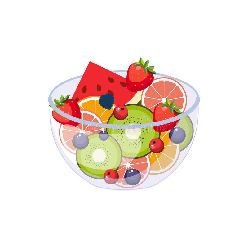Owocowej sałatki Śniadaniowego jedzenia elementu Odosobniona ikona royalty ilustracja