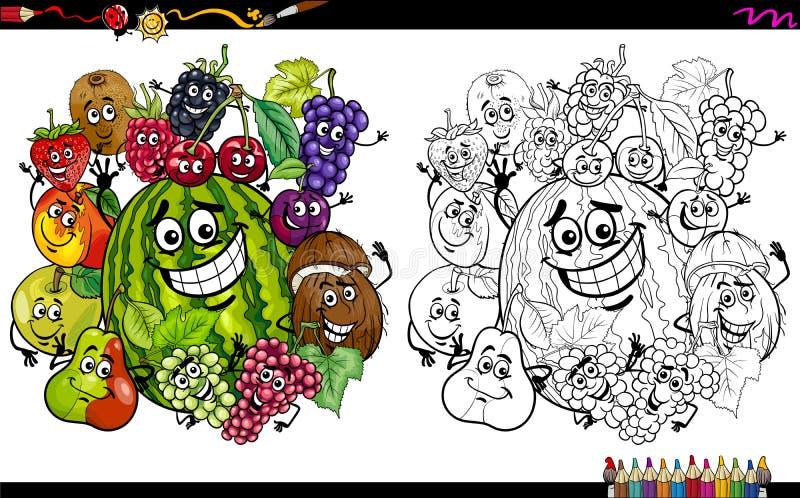 Owocowi charaktery barwi stronę royalty ilustracja