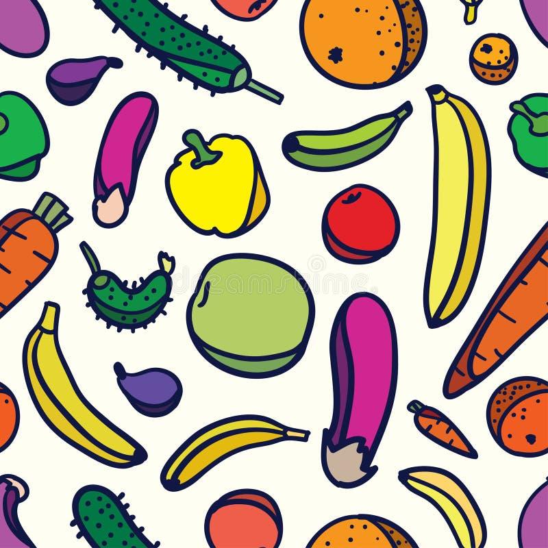 owocowi deseniowi bezszwowi warzywa ilustracja wektor