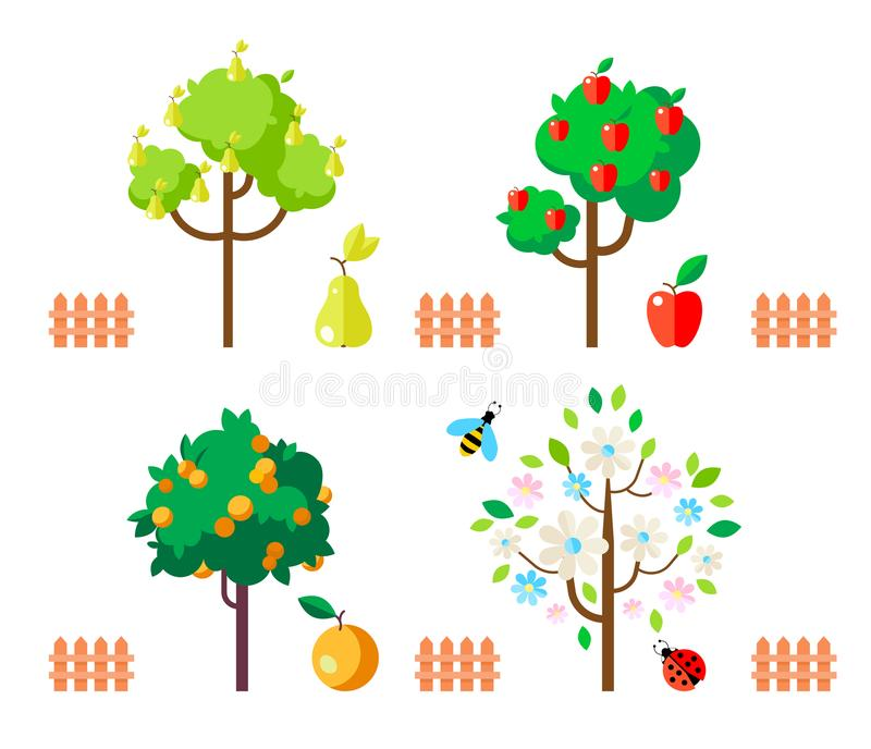 Owocowi drzewa jabłka, bonkreta, pomarańcze, kwiatonośny drzewo ilustracja wektor