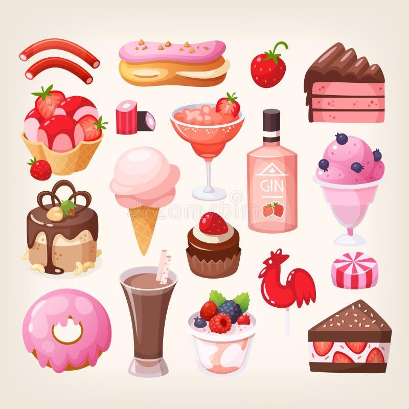 Owocowi i czekoladowi desery Część 2 ilustracja wektor
