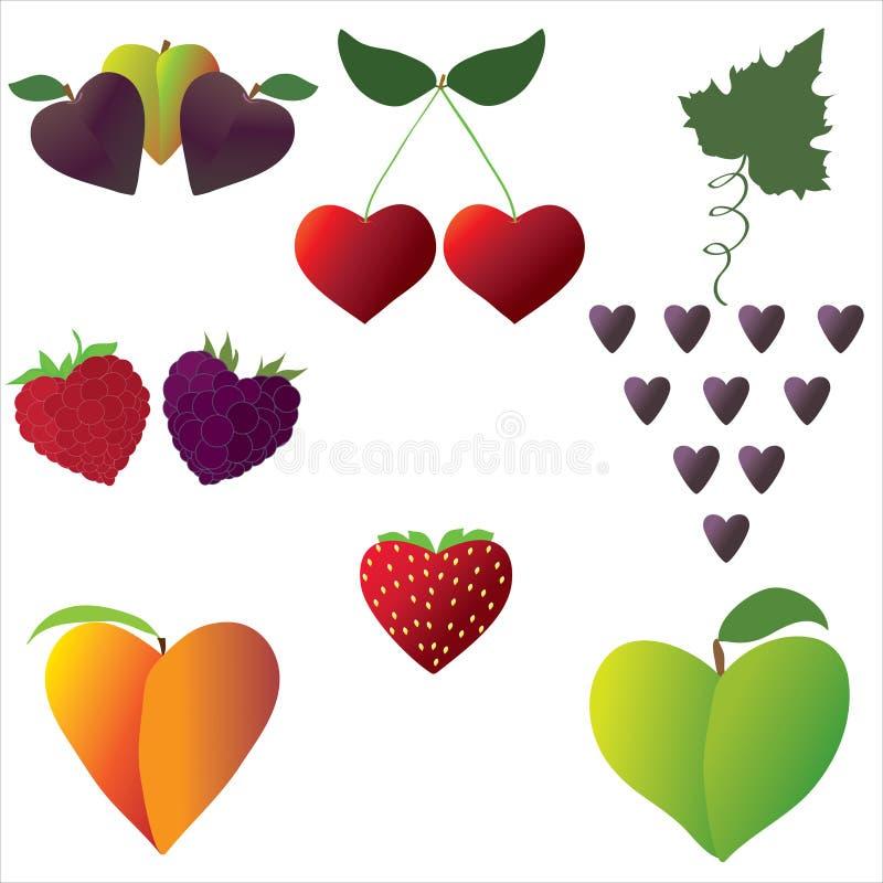 Download Owocowi serca ilustracja wektor. Obraz złożonej z owoc - 20317860