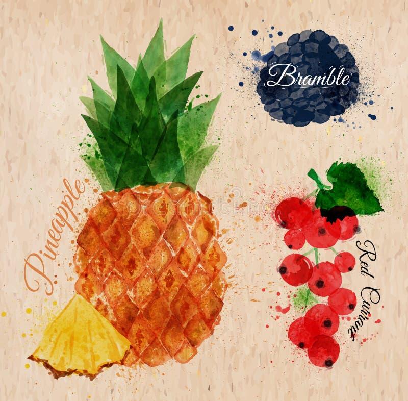 Owocowy akwarela ananas, bramble, czerwony rodzynek royalty ilustracja