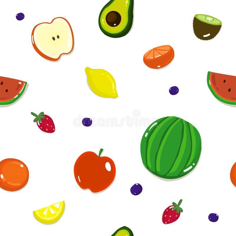 Owocowy bezszwowy wzór, tło z różnymi owoc i jagody na bielu, ilustracji
