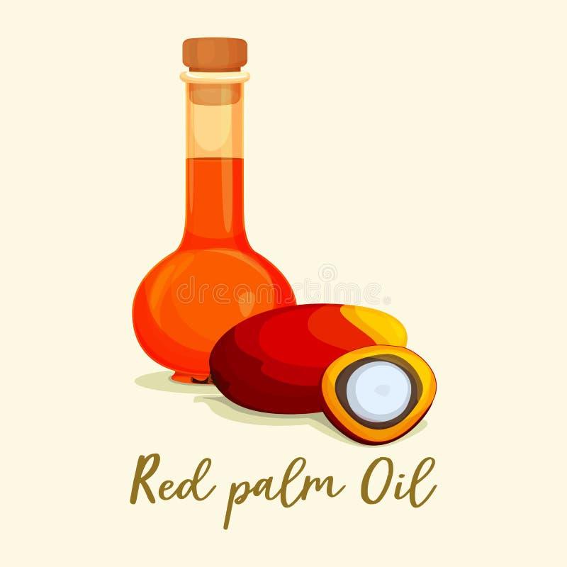Owocowy ciecza lub czerwieni olej palmowy blisko jagod royalty ilustracja